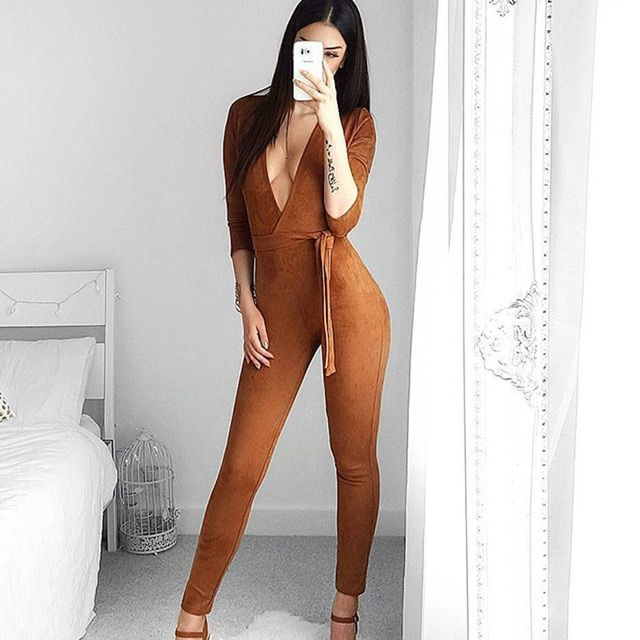 Elegant Suede Rompers Womens Jumpsuit Sexy V Neck Long Sleeve Bodysuit Night Club Wear Bodycon Jumpsuits Overalls AC779