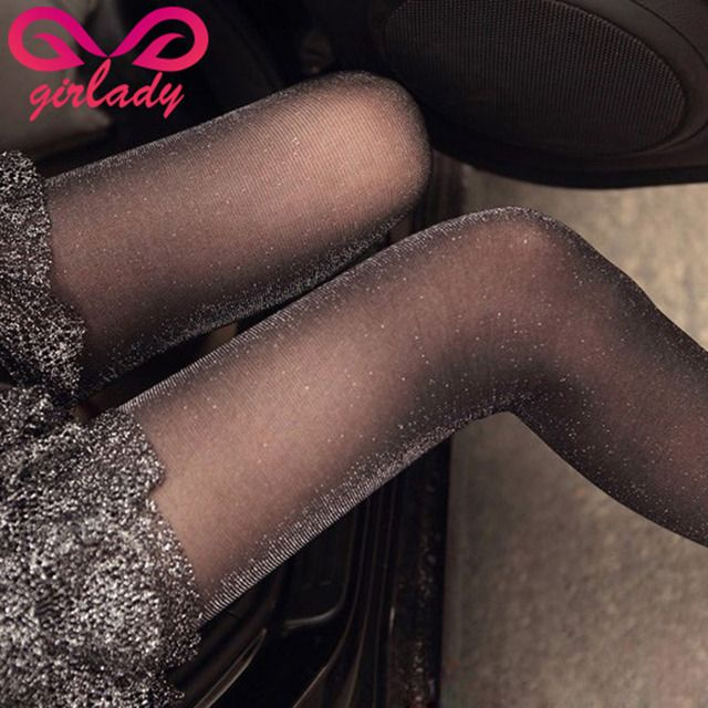 GIRLADY Shiny Transparent Silk Pantyhose Female Ultra-thin Woman Glitter Nylon Stockings Fashion Design Compression Glossy Tight
