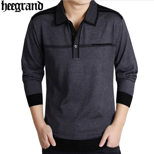 HEE GRAND 2017 Men Leisure Sweater Straight Sweater Man Business Style Mature Stand Collar Pullovers Hombre Jersey  MZL193