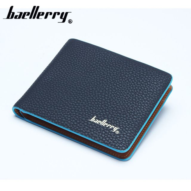 Baellerry Hit color Casual Letter Exposure Polyester litchi pattern Wallet Man PU male Purse Mini Clutch Cheap Womens Wallets