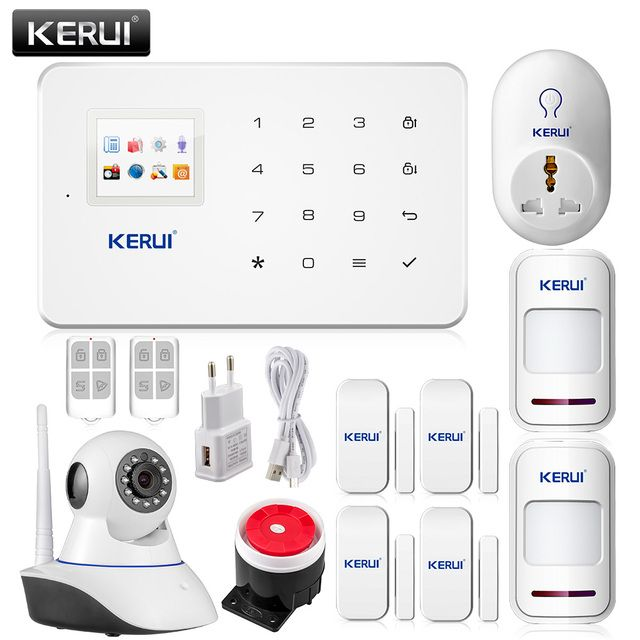 Kerui G18 Wireless GSM SMS Smart Home Security Alarm System IOS Android iPhone APP Control TFT Touch Panel+HD wifi ip camera