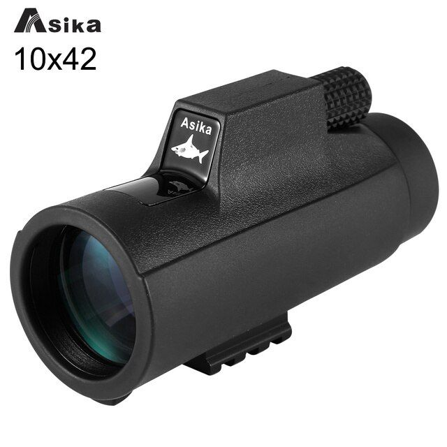 Black 10x42 Asika Telescope Monocular Waterproof Hunting Focus Adjustable Monocular Telescope Travel Camping with Hand Strap