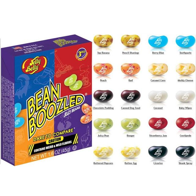 Hot Sale!Box Bean Boozled Beans Crazy Sugar Adventure Tricky Game Funny Sugar 45g 20 Flavors 10 Colors for Braves