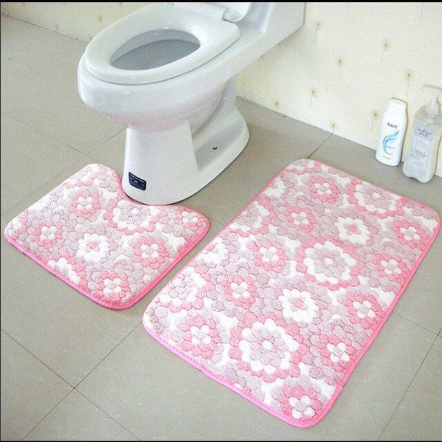 2Pcs/Set Anti Slip Bathroom Mat Set Coral Fleece Floor Bath Mats Washable Bathroom Toilet Rugs