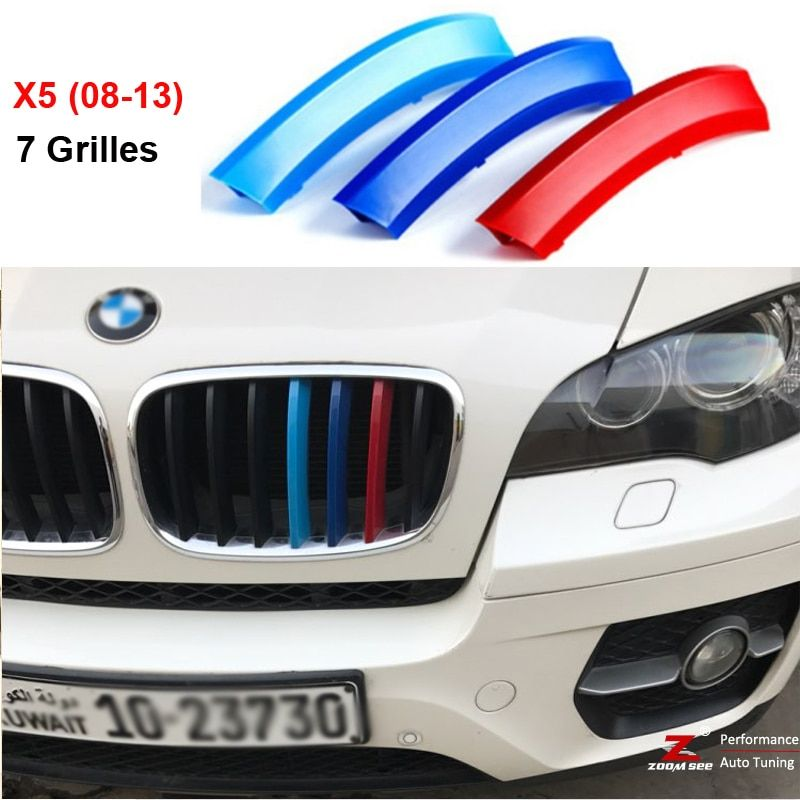 3D M Performance Front Grille Trim Strips grill Cover motorsport Decoration Stickers For 2008-2013 BMW X5 E70