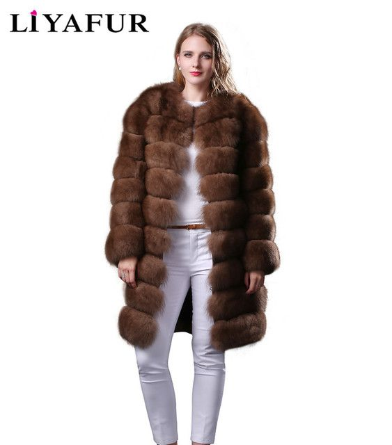 LIYAFUR 2017 New 6 in 1 Real Natural Fox Fur Coat  for Women Jacket Russian Fur Long Coats Winter Warm Vest Gilet Waistcoat