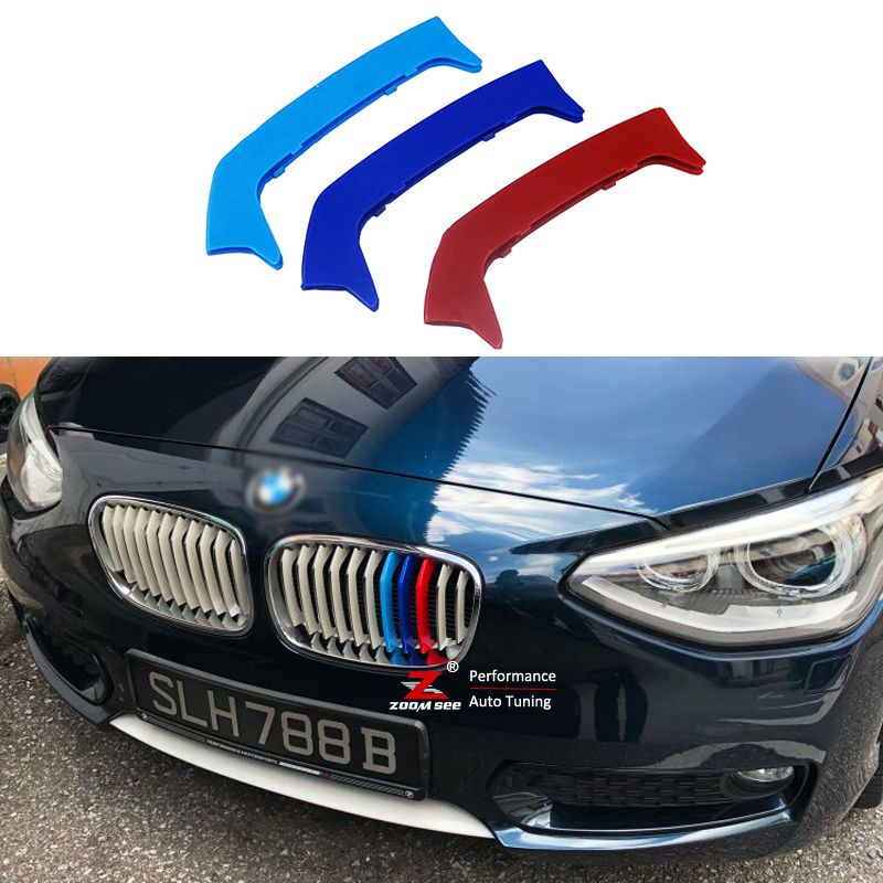Car Front Grill Motorsport M Color Strips For 2012-2014 BMW 1 series F20 F21 116i 118i 120i (11 grilles) Cover Cap Sticker