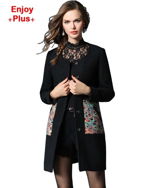 ENJOY PLUS 5%OFF chest 98-123cm new arrival 2016 black basic long winter coat women wool large size vintage trench elegant L-5XL