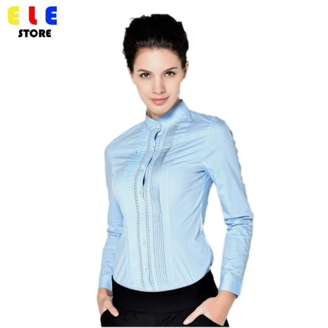 Fashion Autumn 2016 Ladies Long Sleeve Body Shirt Women Stand Collar Formal Lace Patchwork White Blouse For Work Wear S-XXL