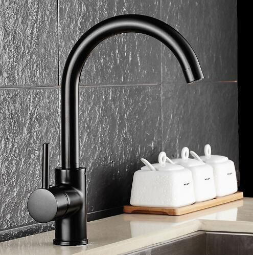 Free Shipping Black Kitchen Faucet Brass Swivel Kitchen Sinks Faucet 360 degree rotating Kitchen Mixer Tap luxury water tap