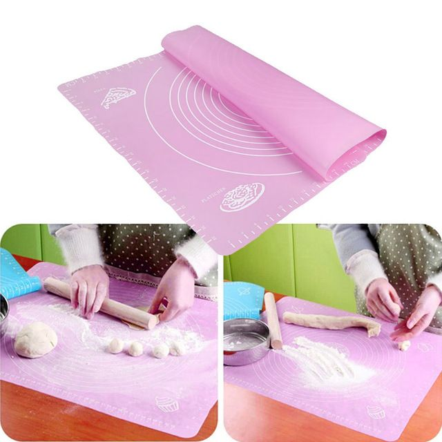 50*40cm Silicone Rolling Mat Fondant Cake Dough Fondant Rolling Kneading Mat Baking Mat with Scale Kitchen Tool Bakeware