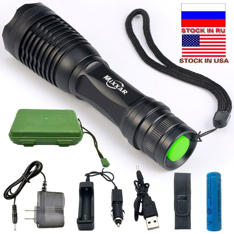 Dropshipping Powerful LED Flashlight E17 High Lumens Waterproof Zoomable For Fishing Hunting Use 18650 Battery Stock in US,RU