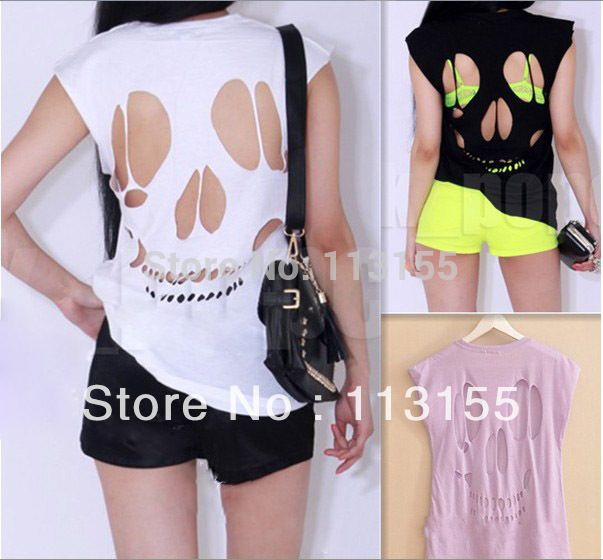 2017 NEW WOMEN'S LADIES SLEEVELESS LONG CUT OUT BACK SKULL T SHIRT WOMENS TOP Sexy t-shirts