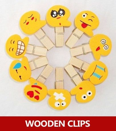 100pcs / lot mini emoticon pegs , kawaii funny wooden clips for kids , photo clips , food bag sealing clips