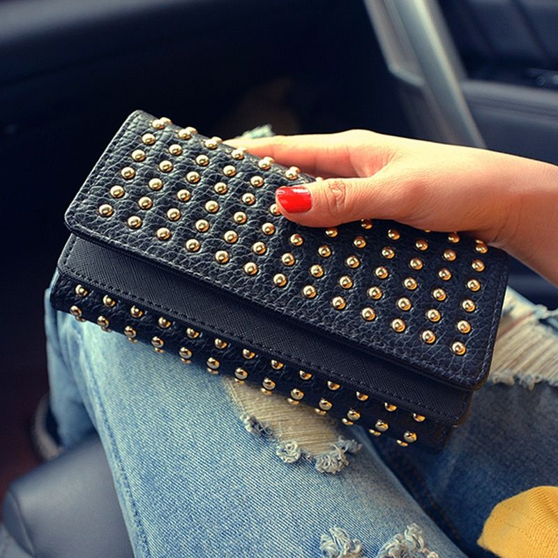 2016 Rivet Women Clutch Wallet Long Handbag Trifold Coin Purse Lady Punk Style Wallet Double Cover Design Card Holder Organizer