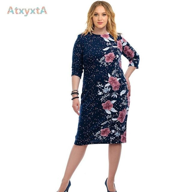 3/4 Sleeve Large Size Floral Printed Pencil Dress Summer Clothes 2017 Women New Fashion Bodycon Dresses 4xl 5xl 6xl Style Navy