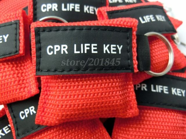 500Pcs CPR Mask CPR Life Key One-Way Valve Assistant Mask Emergency Rescue Keychain Mask Red Nylon Bag For First Aid