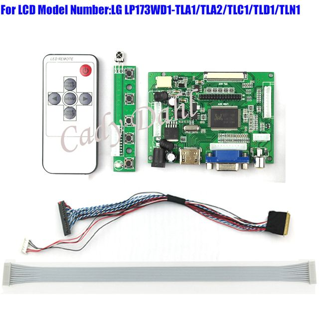 HDMI VGA 2AV Controller Board + 40 Pins Lvds Cable + Remote Kits for LP173WD1 - TLA1/TLC1/TLD1 1600x900 2ch 6 bit LCD Display