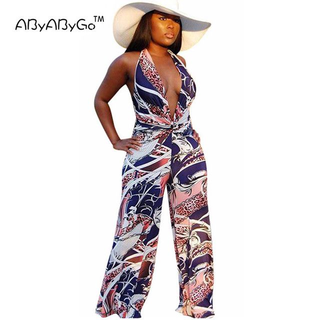 ABYABYGO Sexy Rompers Womens Long Jumpsuit Beach Overalls For Women Catsuit Outfits Salopette Clubwear Elegant Bandage Jumpsuit