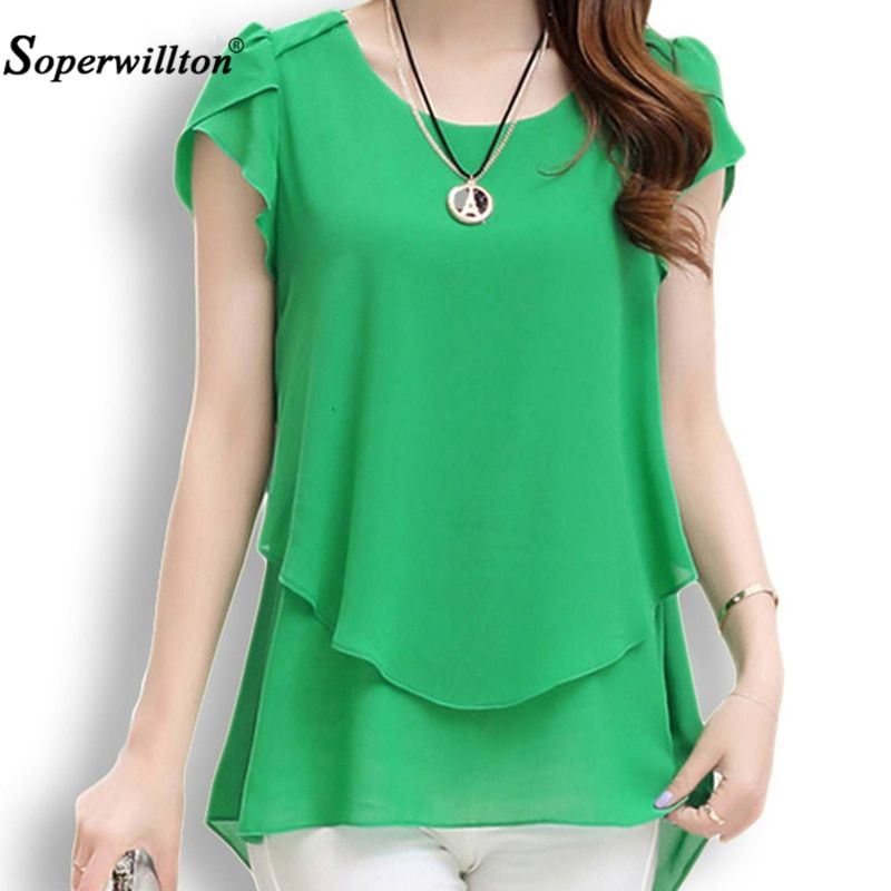 Soperwillton 2018 New Summer Women Blouse Loose Shirt O-Neck Chiffon Blouse Female Short Sleeve Blouse Plus Size 5XL Shirts Tops