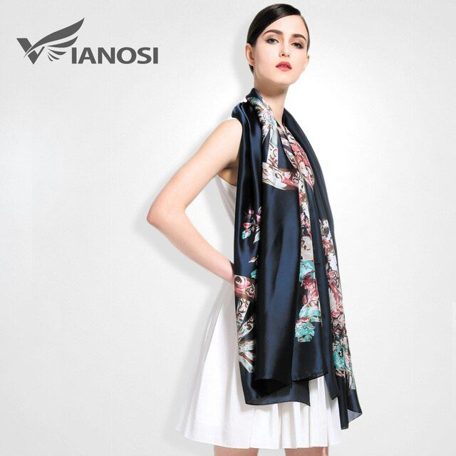 [VIANOSI]  High Quality Digital Printing Women Scarf Brand Shawls and Scarves Silk Scarf Foulard Femme Luxury VA003