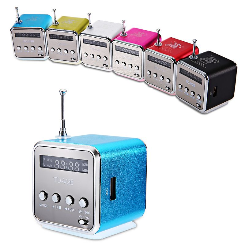 TD-V26 Speaker Mini Digital LCD Sound Portable Music Player Micro SD / TF FM Radio USB TF Card Speaker Music Player Mini Speaker