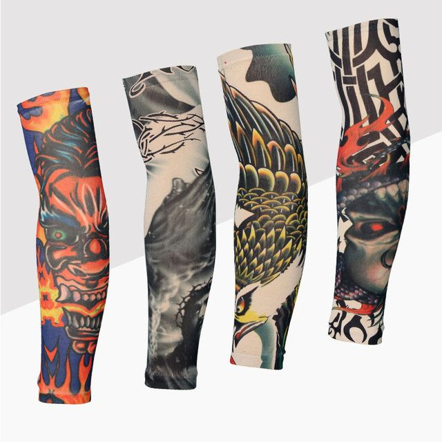 20 Colors  2pcs Cycling Sports Tattoo UV Block Cool Arm Sleeves Armwarmer Cover Sun Protection Skull Bike Bicycle Arm Warmer