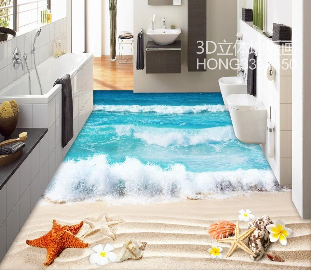 Floor wallpaper 3d for bathrooms beach 3d floor tiles Custom Photo self-adhesive 3D floor PVC waterproof floor