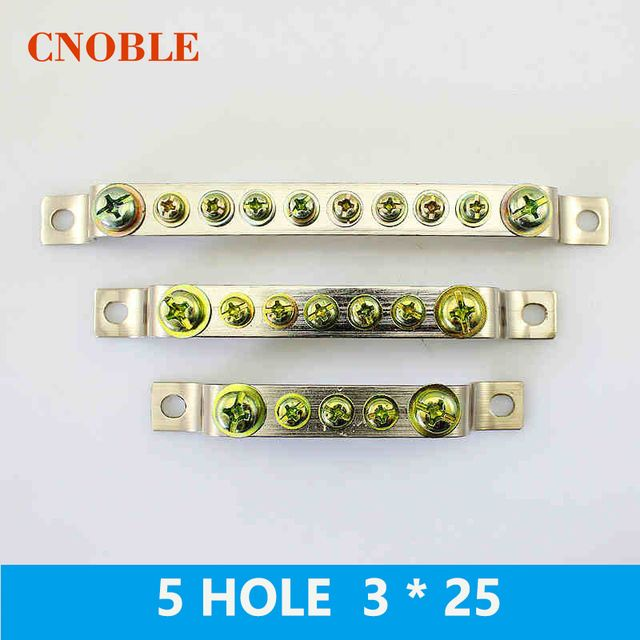 1 Pcs 5HOLE 3*25mm Copper terminal grounding copper strip terminal block Grounding copper