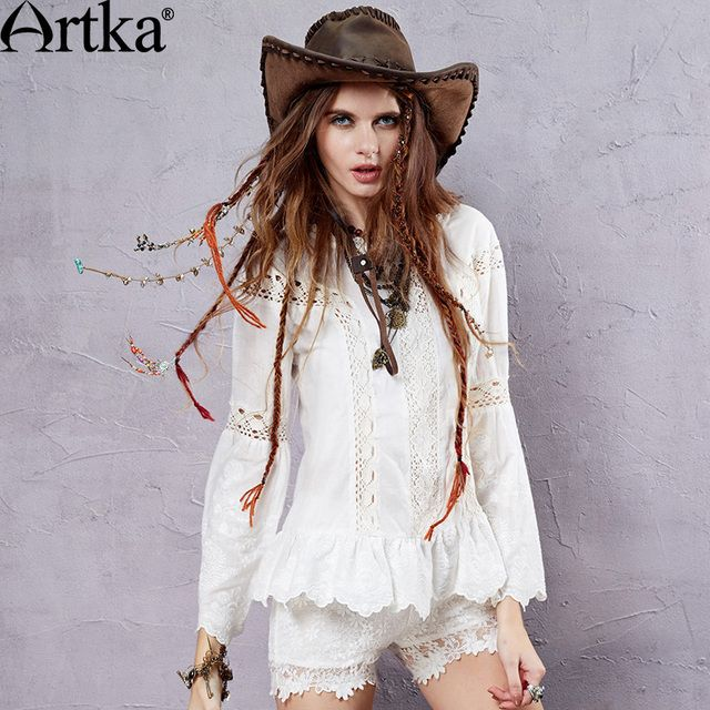 Artka Women's Summer Cotton Solid Embroidery Shirt  Bohemia Style Lace Perforated Long Lantern Sleeve Blouse S115051C