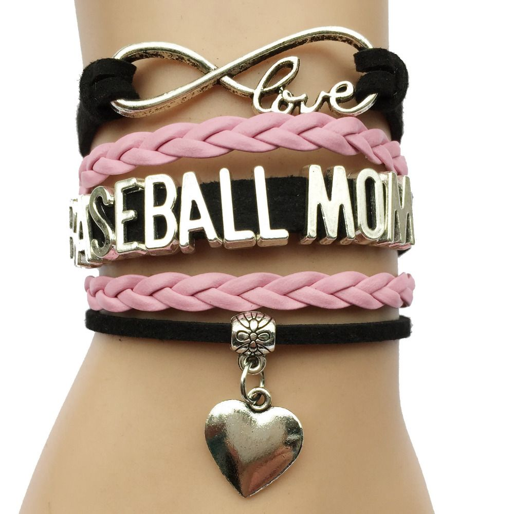 Infinity Love Baseball Mom Heart Charm Bracelet-  Leather Braided Friendship Gift For Women Players Team Mothers Day Gift