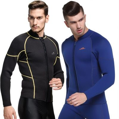 SBART 3MM Neoprene Wetsuit Jacket Men Long Sleeve Full Zipper Super Stretch Wetsuits Tops For Surfing Keep Warm High Quality