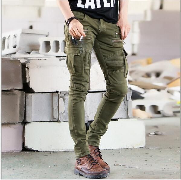 Wholesale New Men Fashion Runway Black Army Green Cargo Waxed Biker elastic pencil pants washed Jean Skinny Khaki Mens jeans
