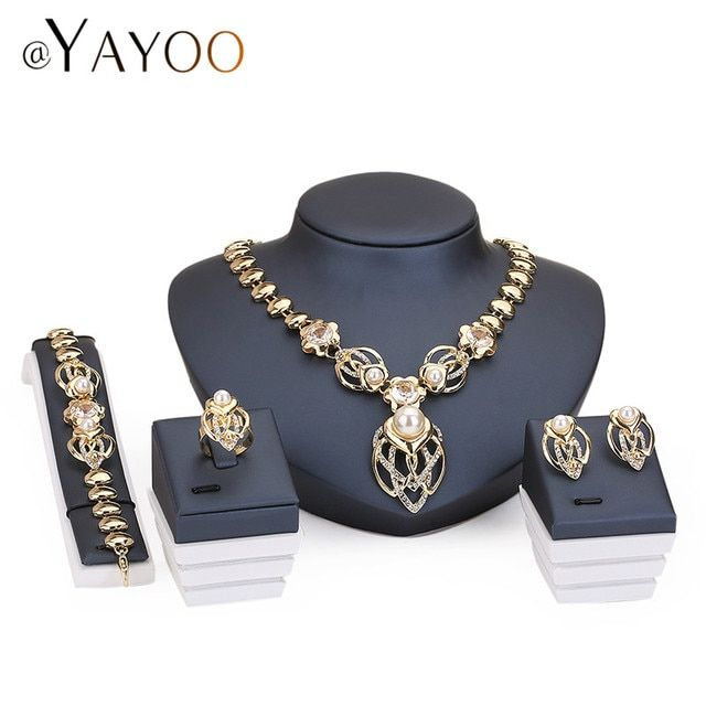 Fashion Party Accessories Simulated Pearl Jewelry Sets For Women Statement African Beads Necklace Earrings Bracelet Fine Rings