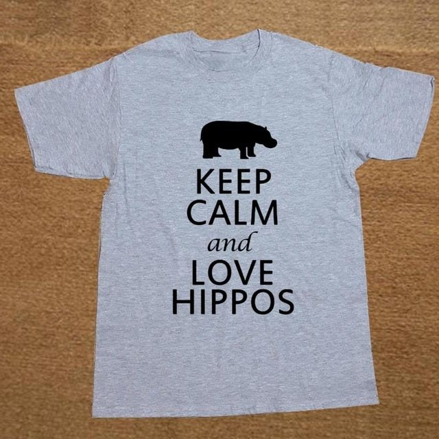 Summer Keep Calm And Love Hippos print men New Arrived men short sleeve casual t-shirt cotton t shirt