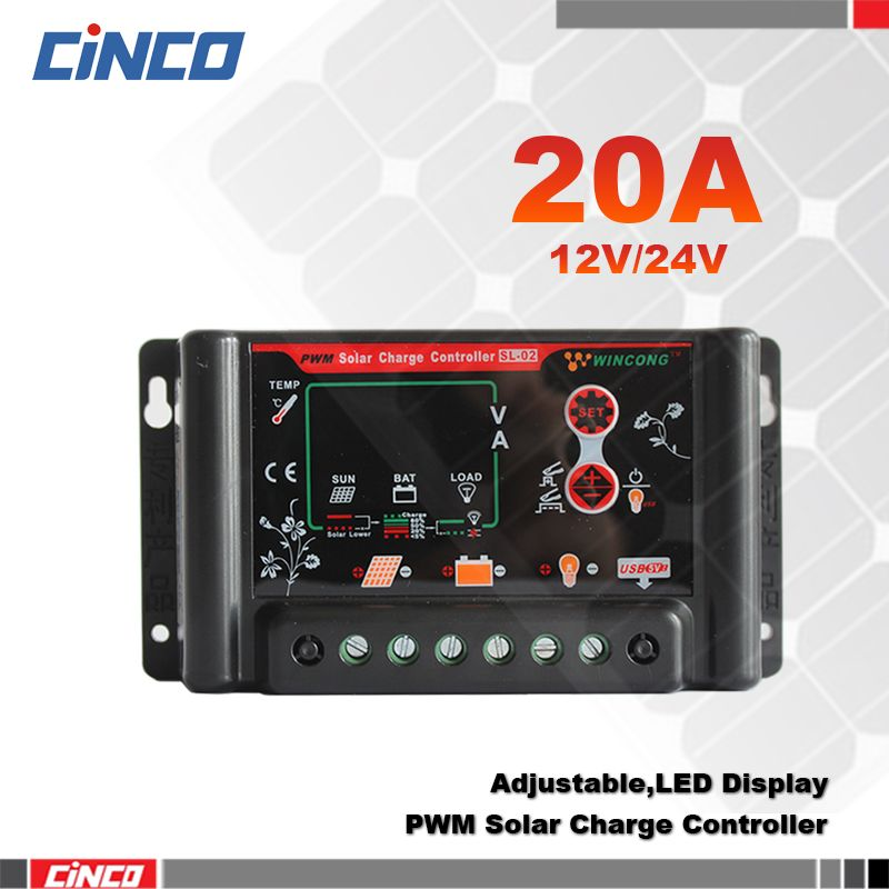SL02B-20A 20A 12V/24V Solar controller,LiFePO4/Li-Ion/Li-Pol Lithium batteryAGM/GEL battery, Auto switch with 5V USB output