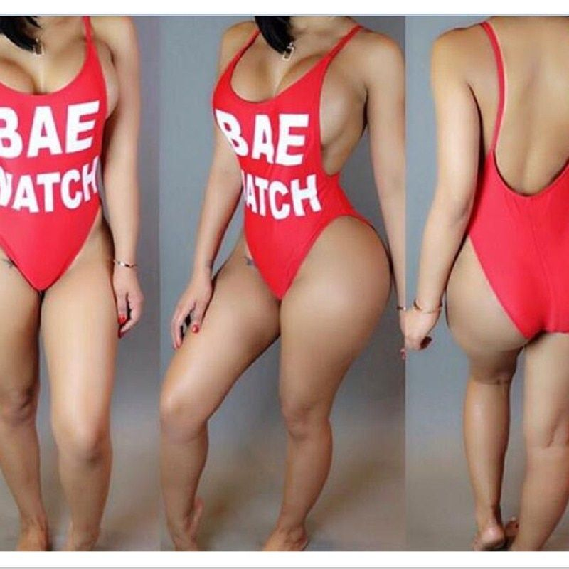 2016 new fashion red women one piece swimsuit summer backless printed letters bikini skinny womens beach fashion jumpsuits mq005