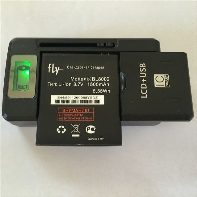 3.7V 1500mAh BL8002 Fly IQ4490I Battery + YIBOYUAN SS-8 LCD Display Universal Charger