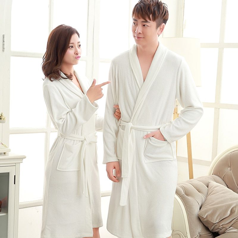 Hot Selling Mens Long Kimono Terry Bath Robe Men Water Absorption Towel Bathrobe Long Sleeve Robes Male Dressing Gown Nightgowns