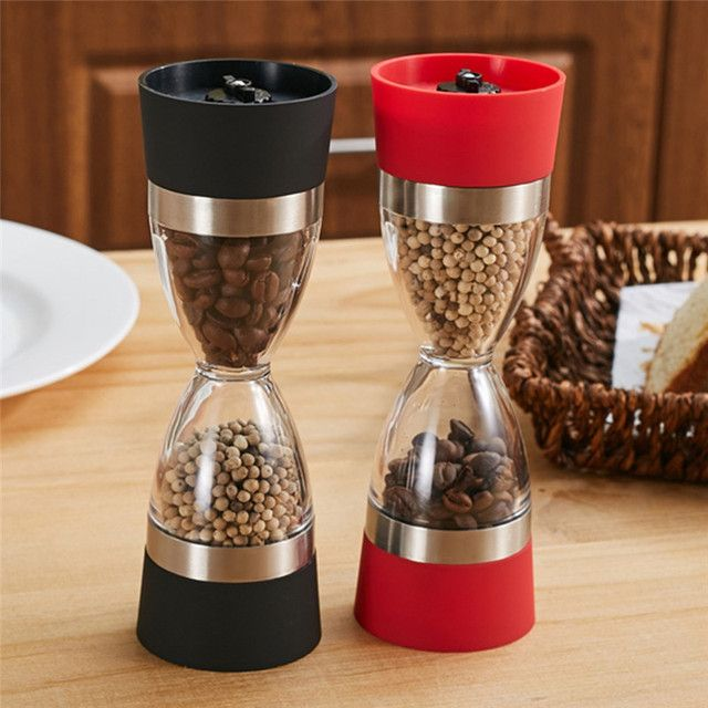 18cm Manual Salt Pepper Spice Grinder 2 in 1 Stainless Steel Ceramic Core Seasoning Mill Grinder Coarse To Fine Grain 2017 New