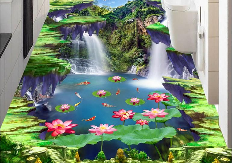 Custom 3d flooring Waterfall lotus carp mural wallpaper 3d flooring living room wallpaper tile flooring bathroom