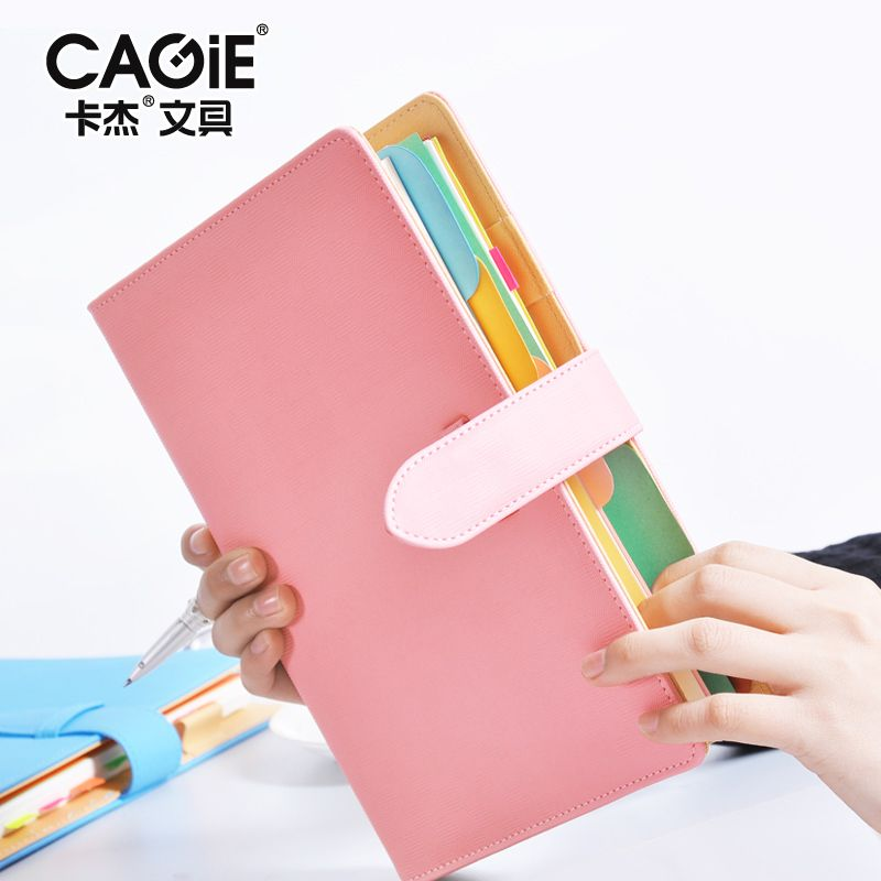 High Quality CAGIE Spiral Notebook 1PCS 8 Color High-grade Faux Leather Korean Design Business Notepad A5 Portable Notebook