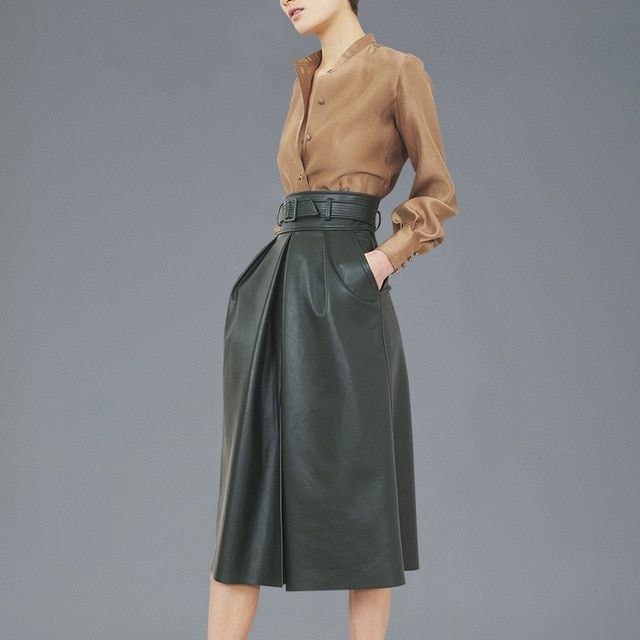 fashion high-end autumn two piece leather skirt suit ladies temperament blast  Shirt + skirt, 2 piece suits, women's suits work