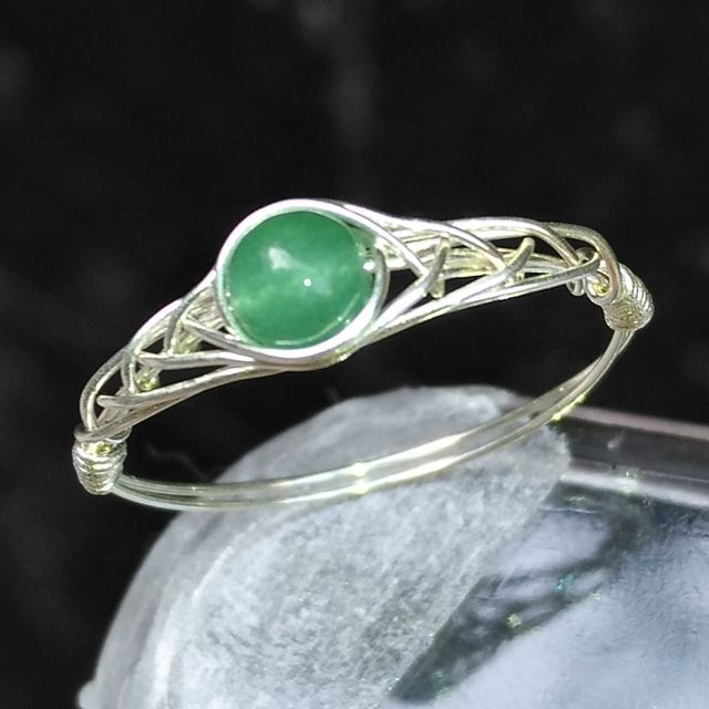 "Natural Green Aventurine Beads Ring 925 Sterling Silver Natural Beads Ring Chinese Jewelry Gem Stone Ring "" GRB Ring """