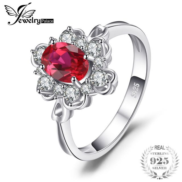 JewelryPalace Elegant 1.5ct Oval Created Red Ruby Engagement Anniversary Promise Ring 925 Sterling Silver Fine Jewelry 2018 New