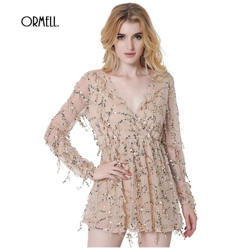ORMELL 2017 Autumn Gold Sequin Glitter Elegant Dress Long Mesh Sleeve Women Deep V Neck Dresses
