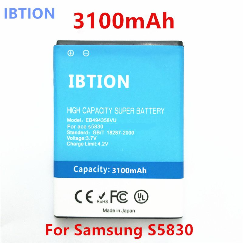 IBTION 3100mAh for Samsung Galaxy ACE S5830GT S5830 5830 S6802 B7510 i569 i579 i619 EB494358VU High Quality phone Battery