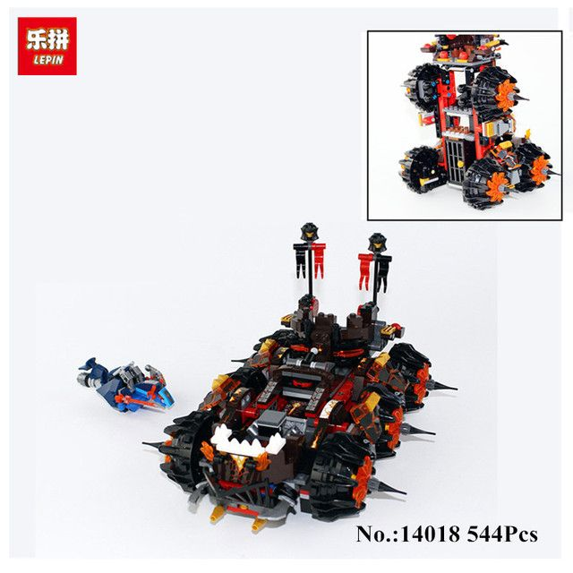 544PCS  Lepin 14018 Nexoe Knights General Magmars Schicksalsmobil Building Set  Bricks Blocks Compatible with 70321 Toys