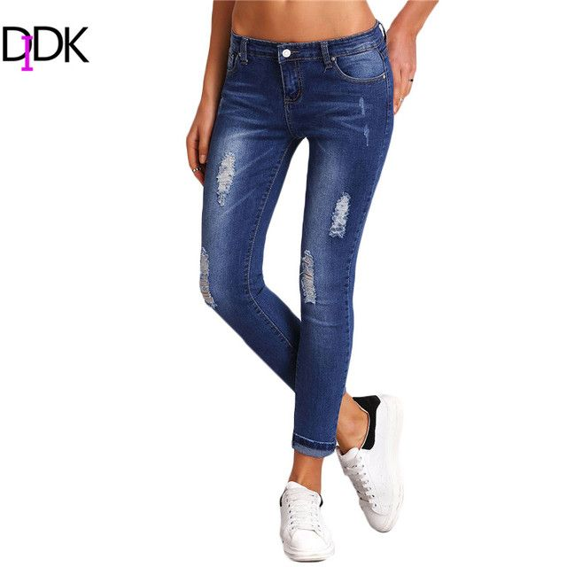 SweatyRocks Women Summer Trousers Womens Fitness Clothes  Casual Blue Mid Waist Button Fly Ripped Bleached Denim Skinny Pants