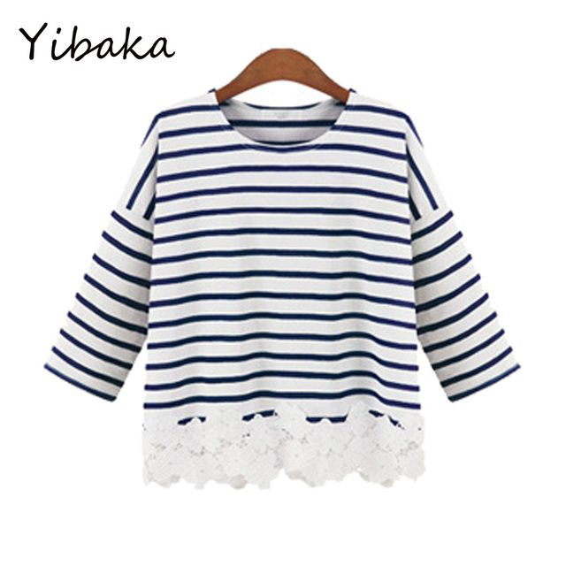 Yibaka2017 summer new European and American fashion MM large size women stripes loose o-neck women T - shirt tops